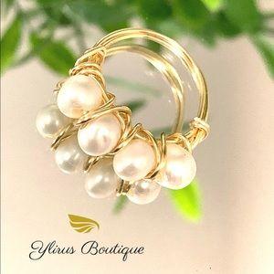 Freshwater pearl wrap ring